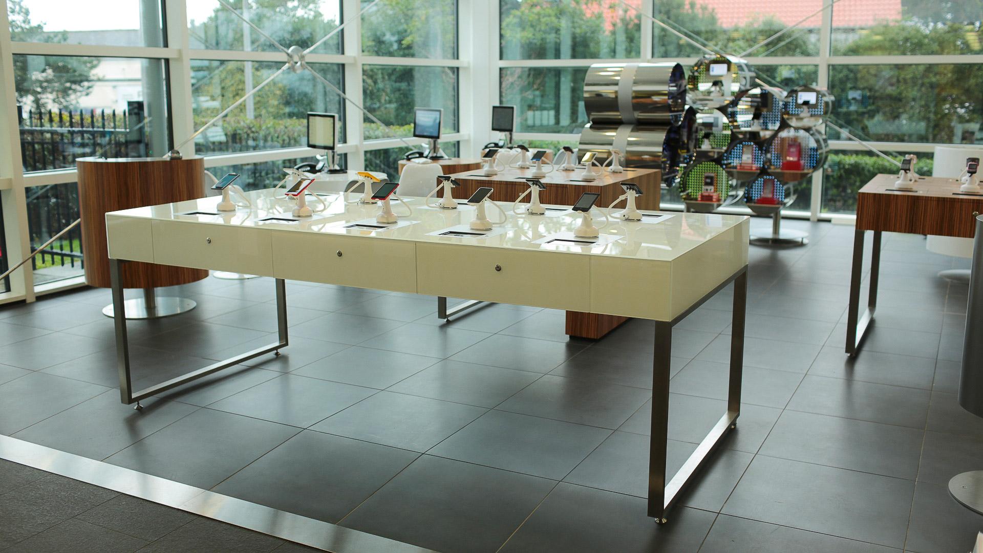 Bespoke white and aluminium modern display table