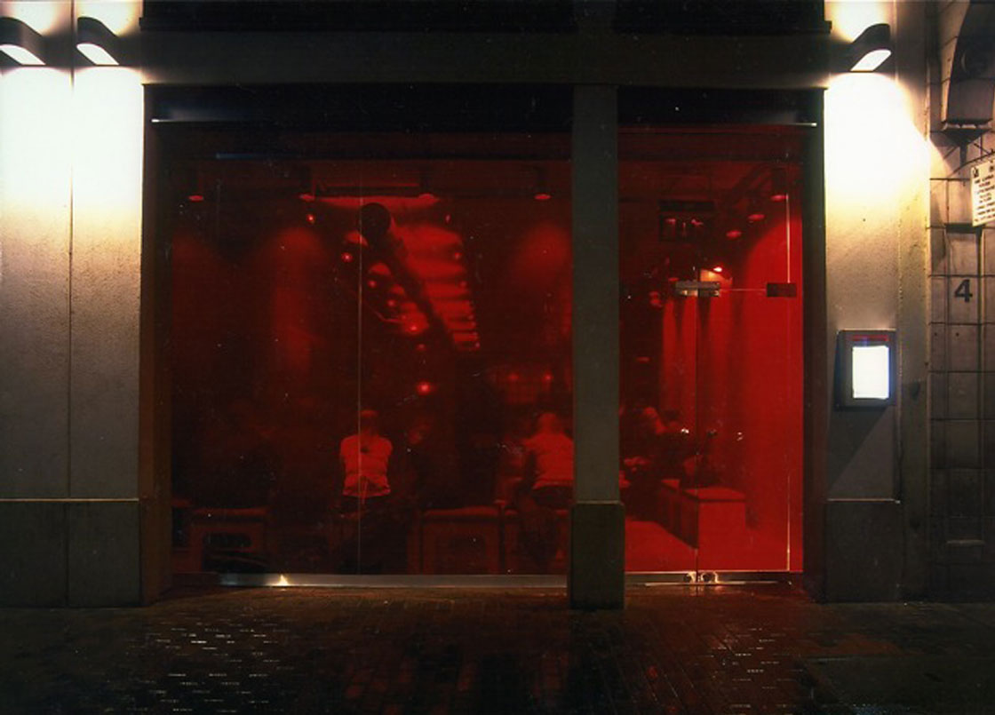 Bar Red, Soho London, Red Glass front