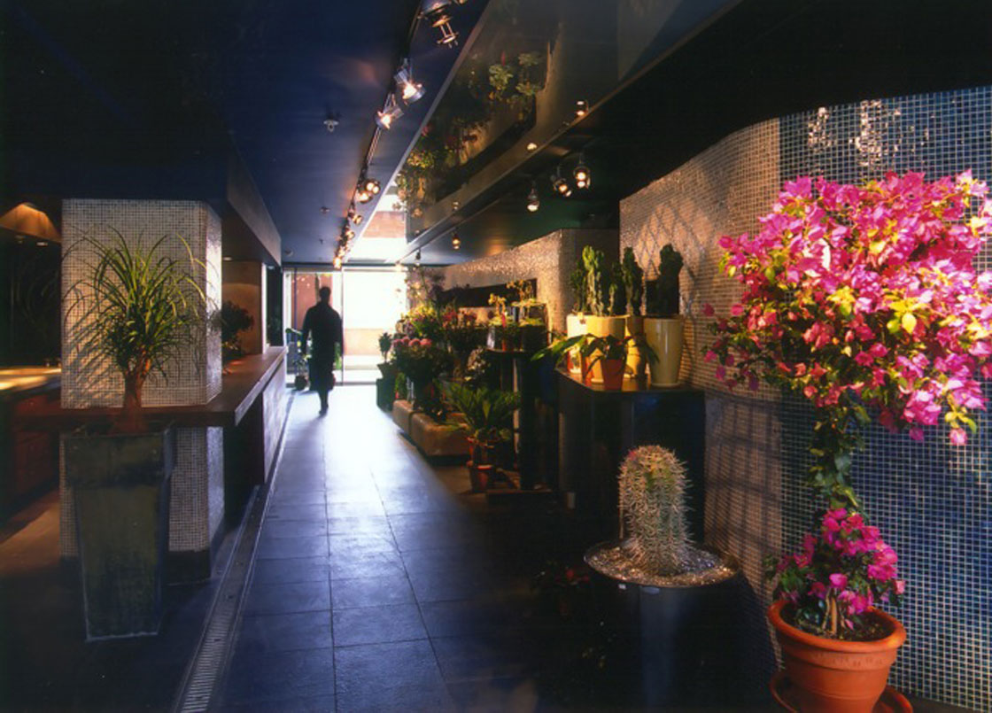 Interior shot of Flowerstore Oxo Tower, London