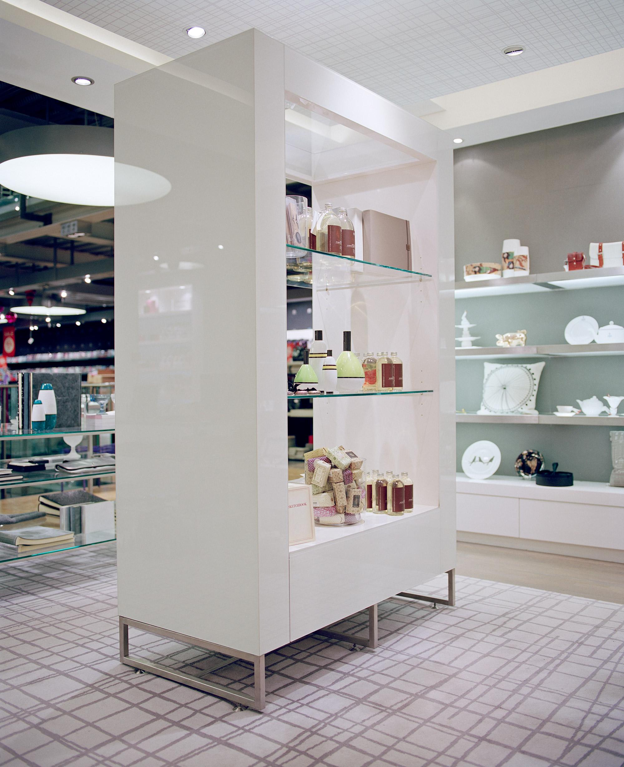 White shelving unit, Paperchase Tottenham Court Road, London