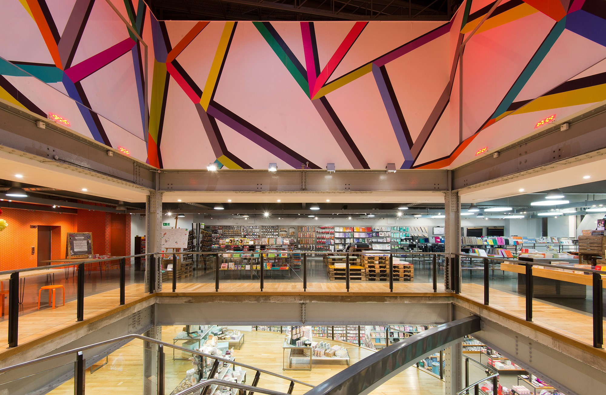 Paperchase Manchester, top floor, ceiling art, design