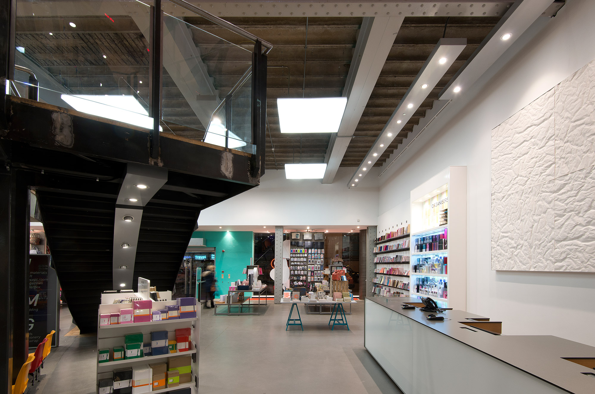 Paperchase Manchester staircase, ground floor cash desk, lighting