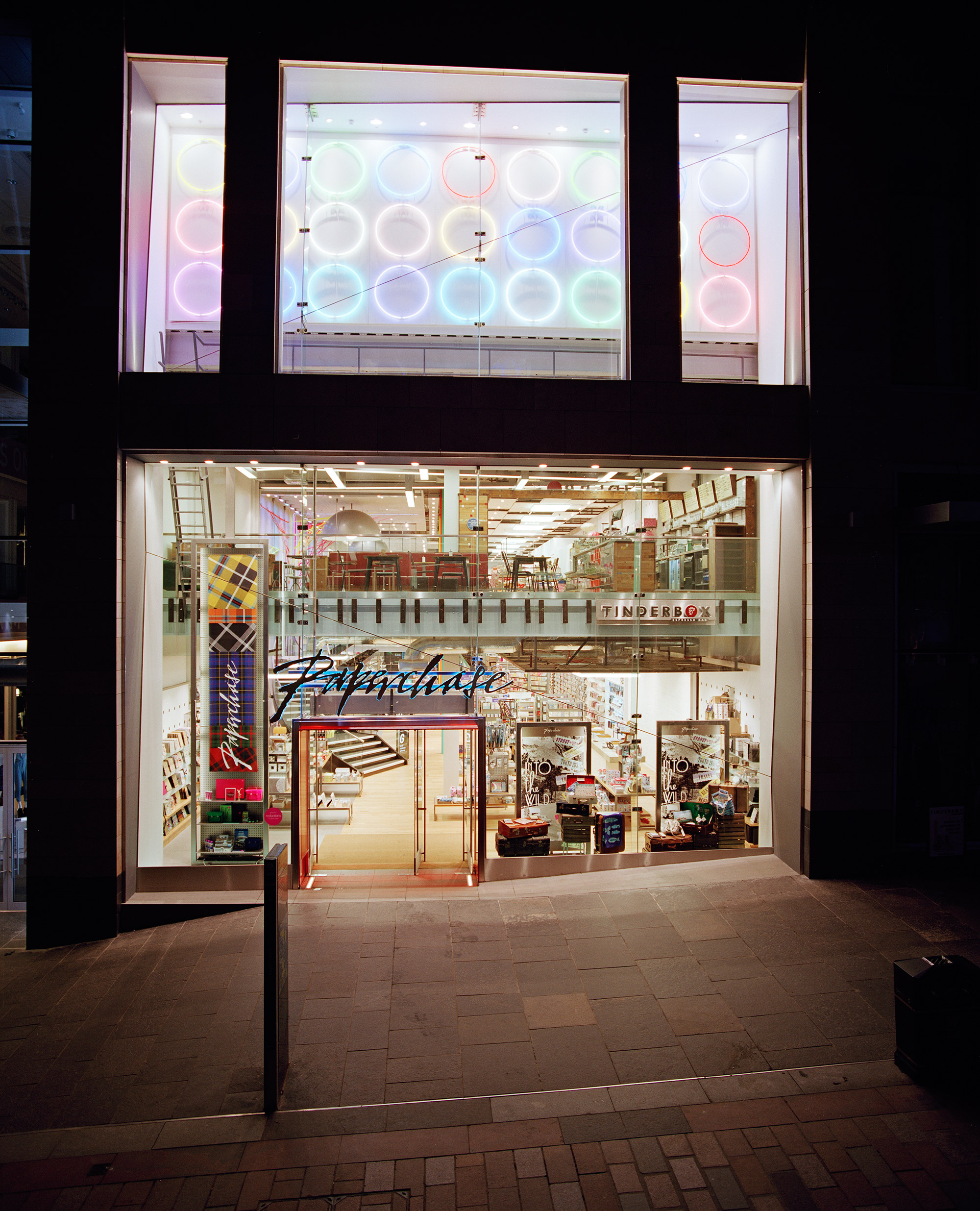 Paperchase Glasgow Shop front at night