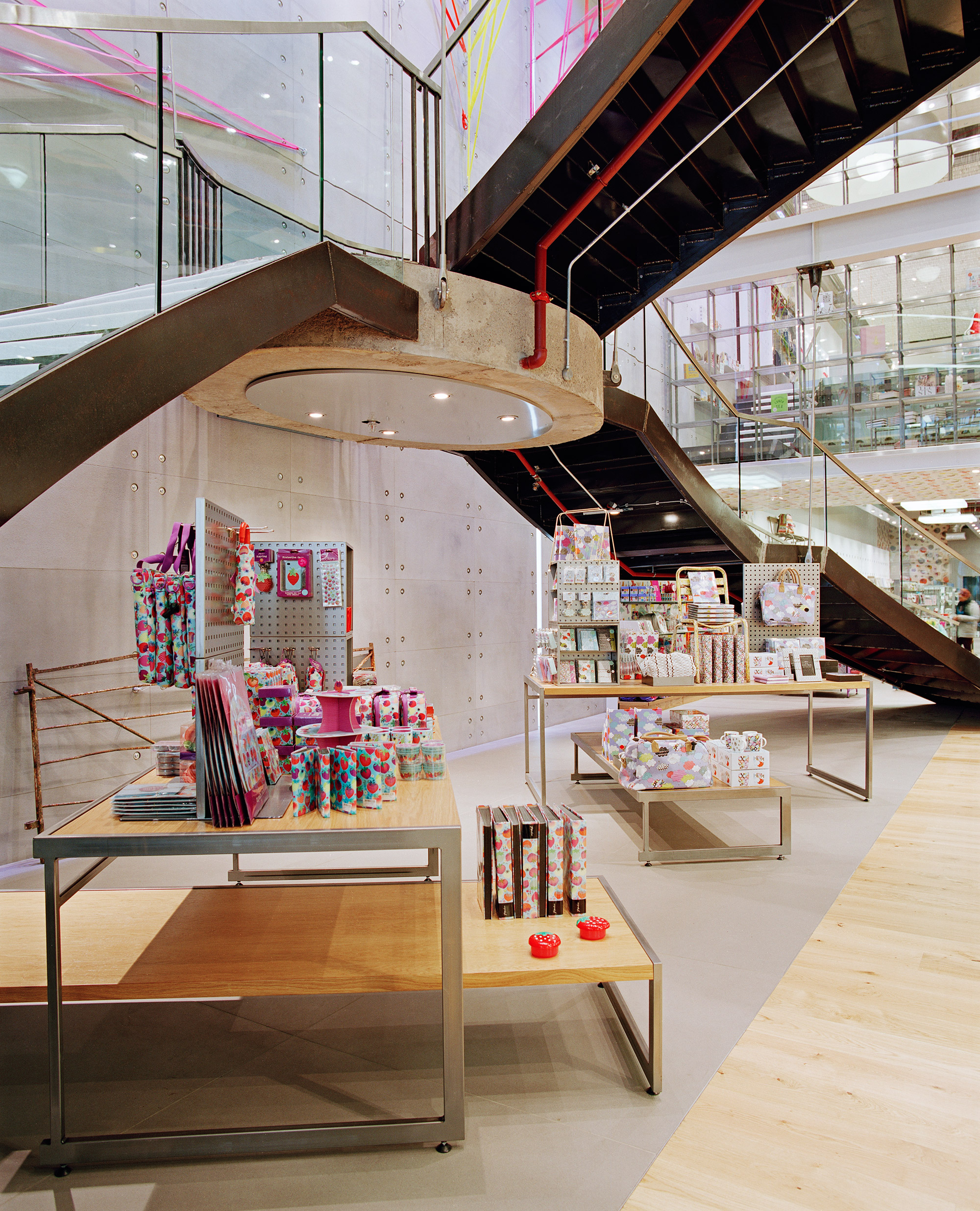 Paperchase Glasgow suspended staircase