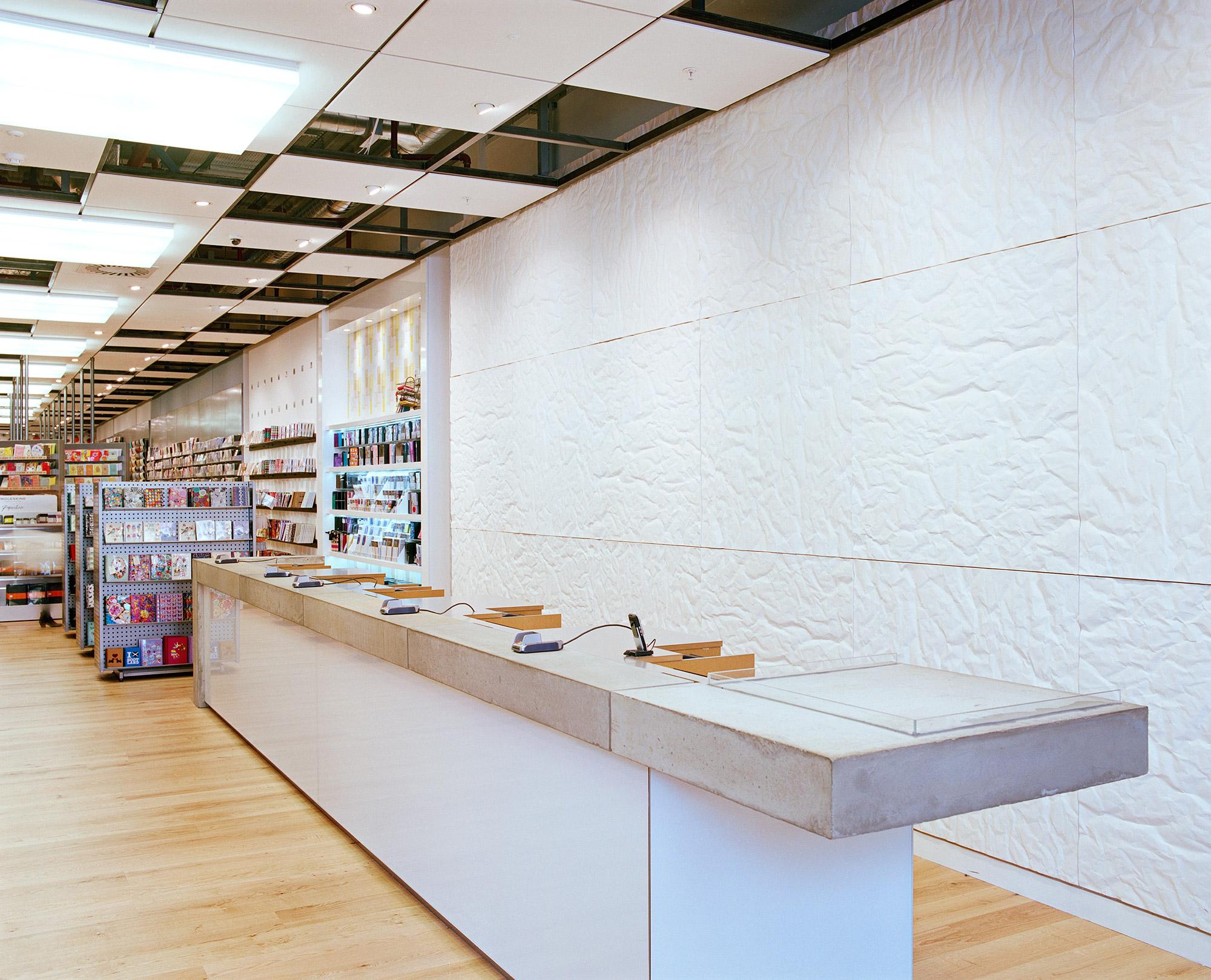 Paperchase Glasgow, large concrete cash desk