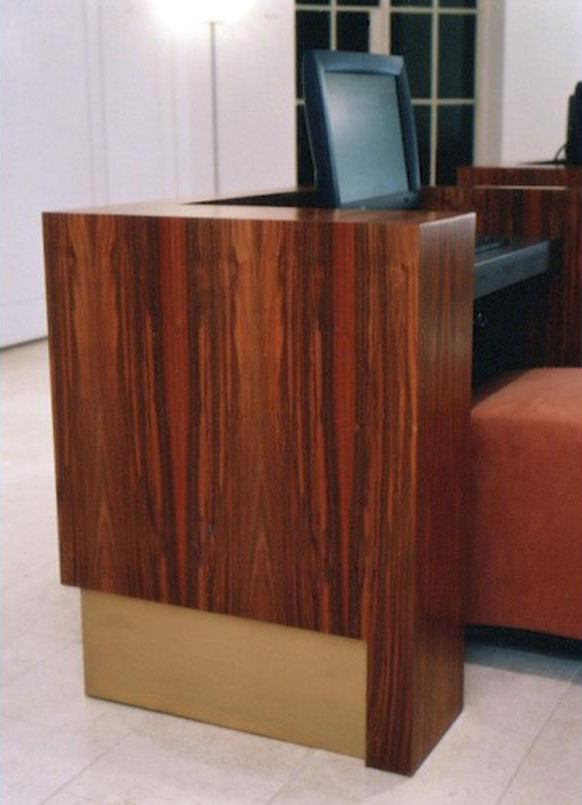 Wooden recepetion desk at Reuters head office in London