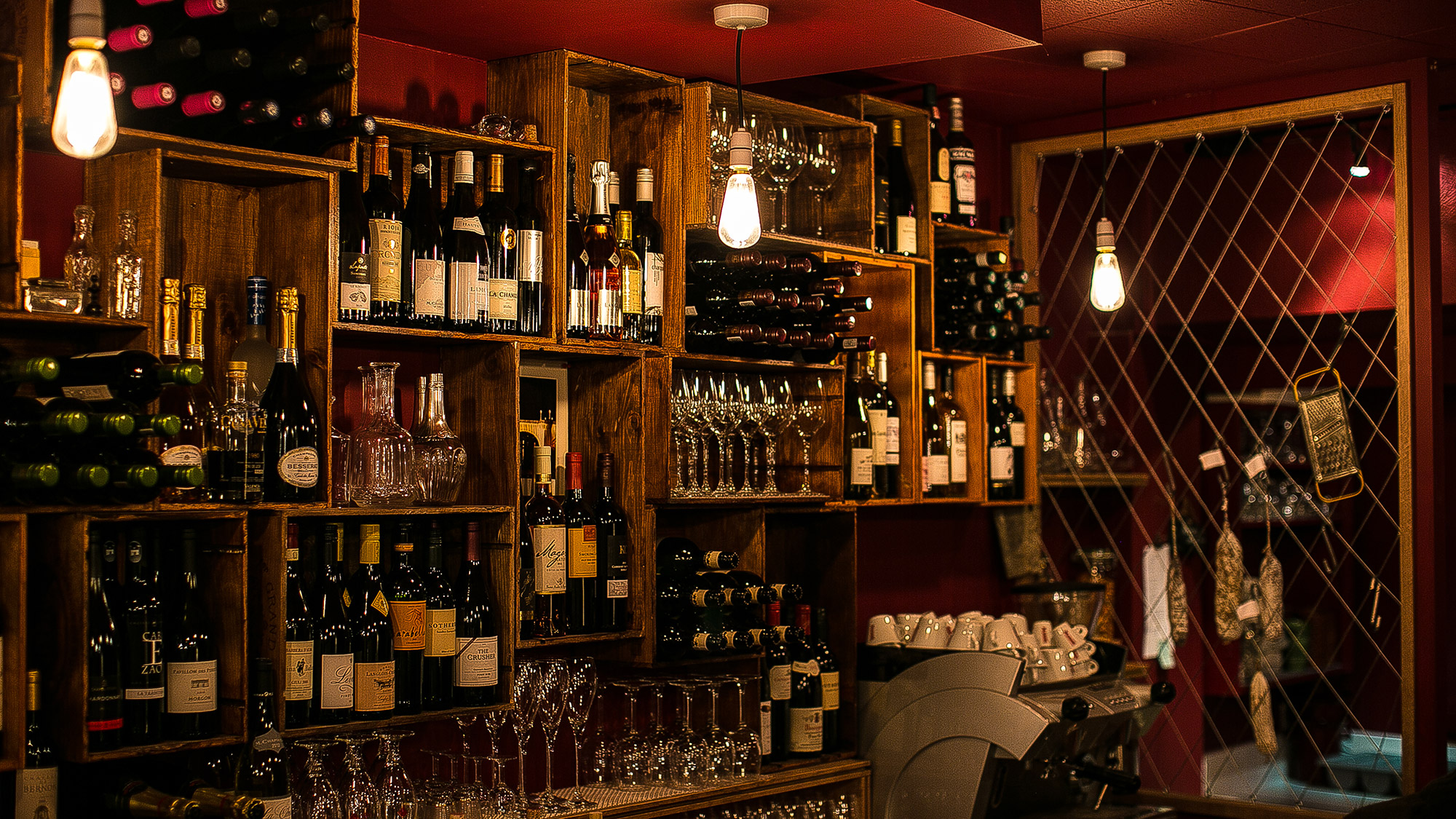 Shelving units made from wine crates, Cellar Magneval wine bar