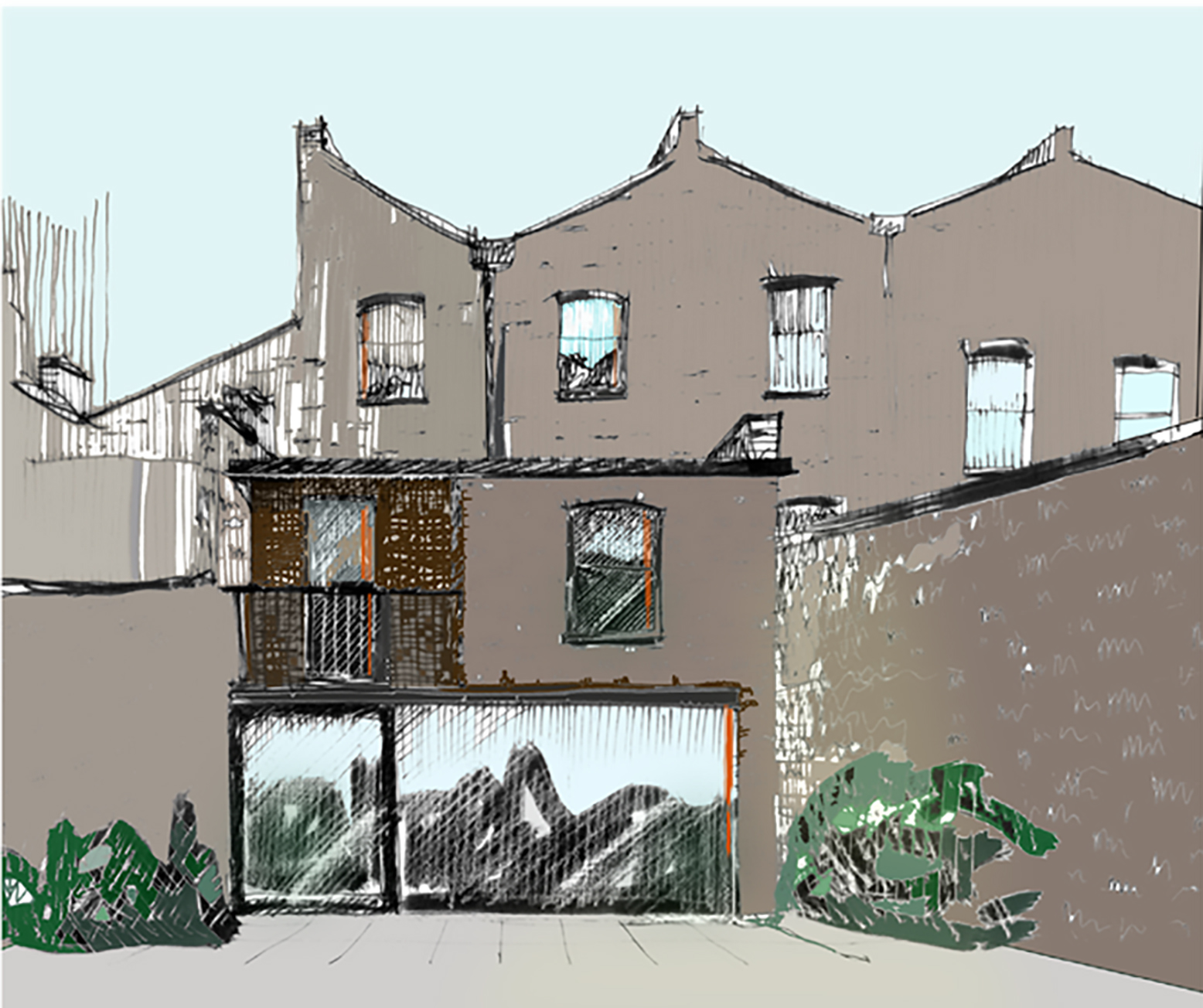 Islington terraced house rear elevation hand sketched