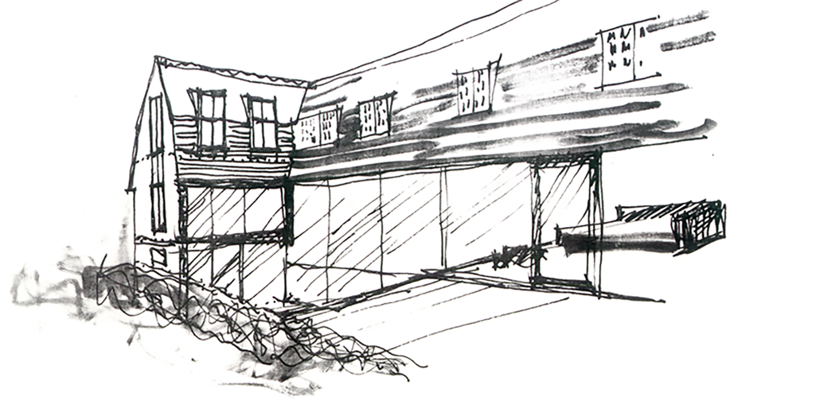 Leatherhead House, rear elevation, marker pen drawing