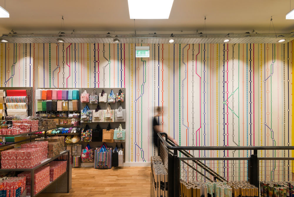 Paperchase Victoria Station retail wall graphics by Made In Place Design