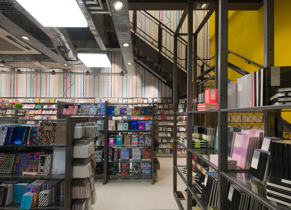 Paperchase Victoria Station metal retail staircase and shelving by Made In Place Design