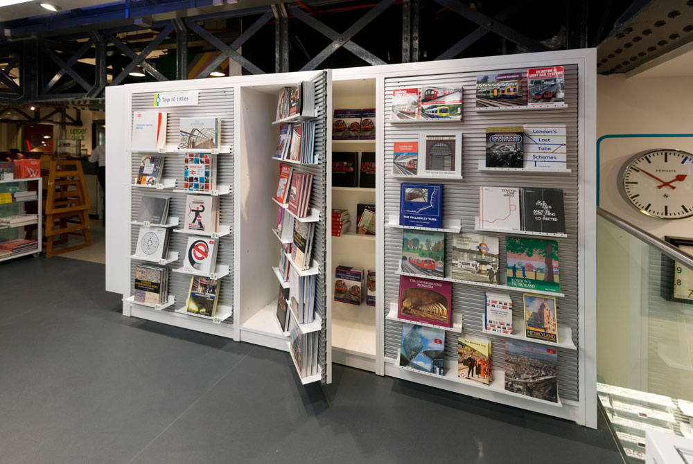 London Transport Museum shop book display and storage by Made In Place Design