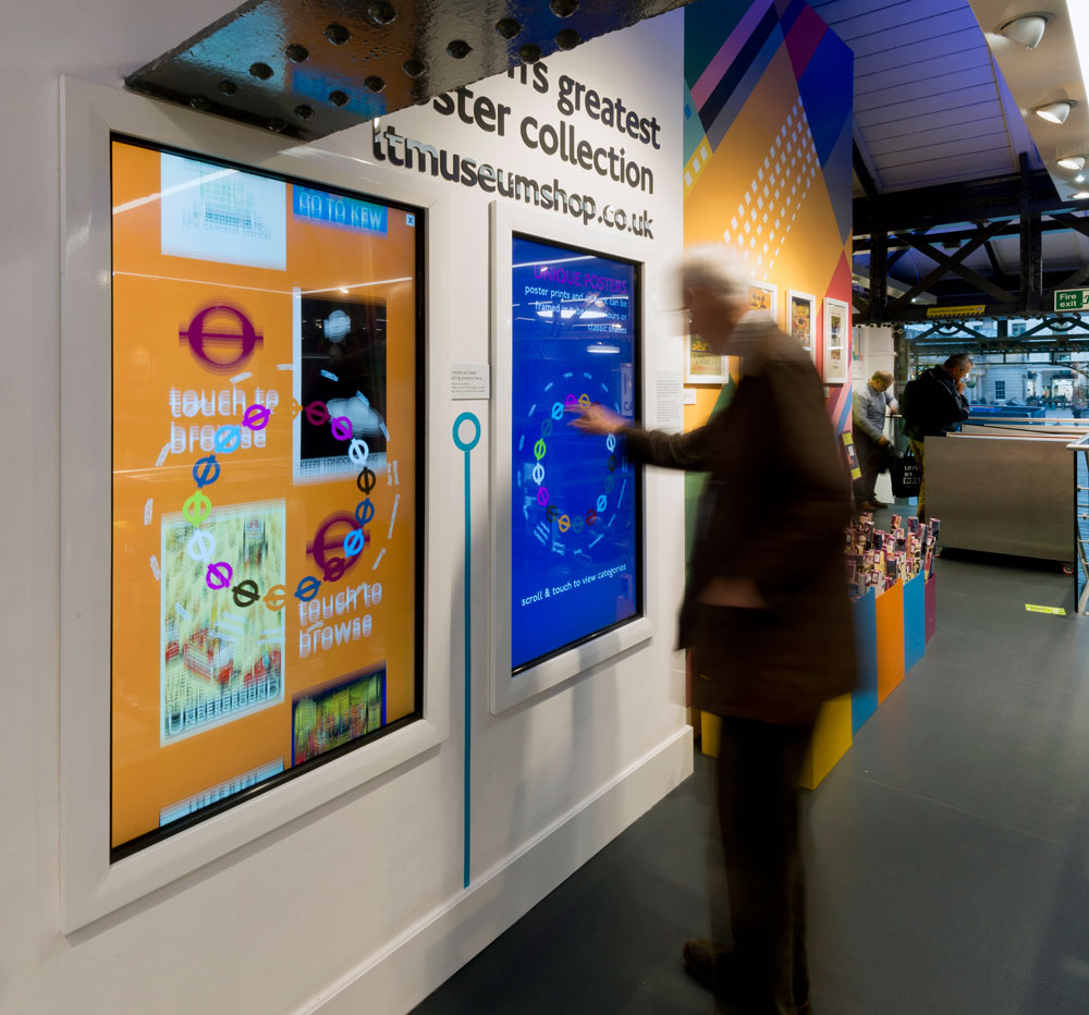 London Transport Museum shop digital displays by Made In Place Design