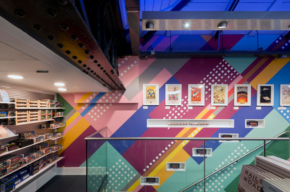 London Transport Museum shop stair and display graphics by Made In Place Design