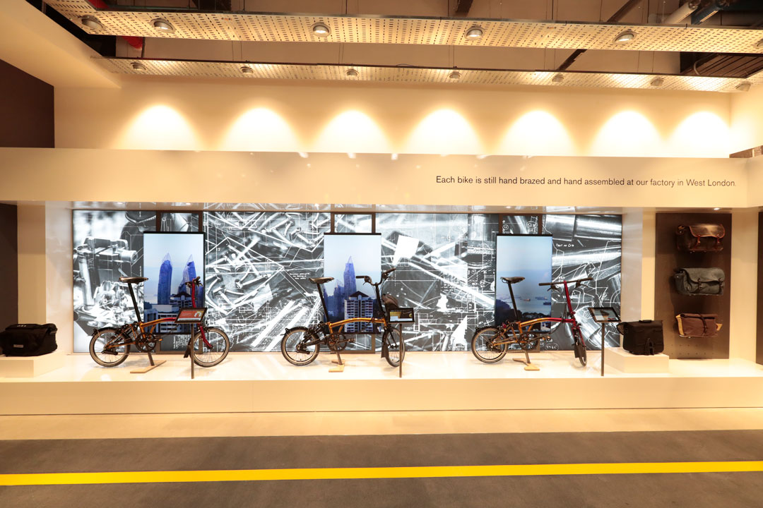 Digital shop display Brompton Bikes Singapore by Made In Place Design